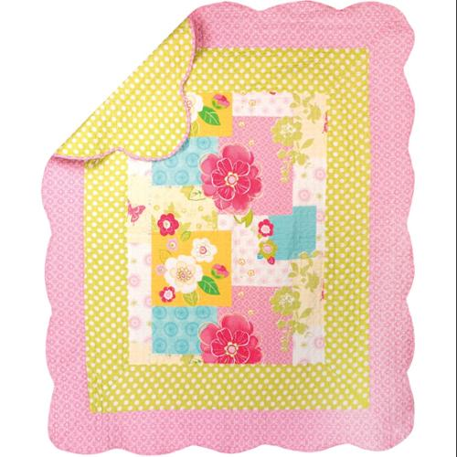 "Pink and Yellow Floral and Polka Dotted Quilt Throw Blanket with Scalloped Border 60"" x 50"""