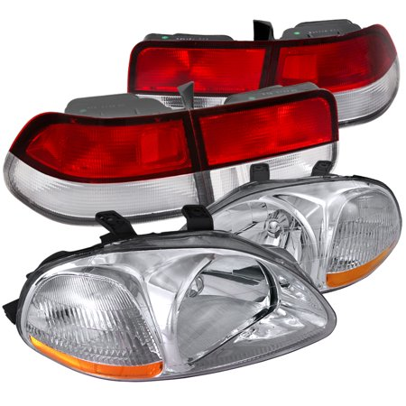 - Spec-D Tuning 1996-1998 Honda Civic Coupe Crystal Chrome Headlights + Red/Clear Rear Tail Lights (Left + Right) 96 97 98