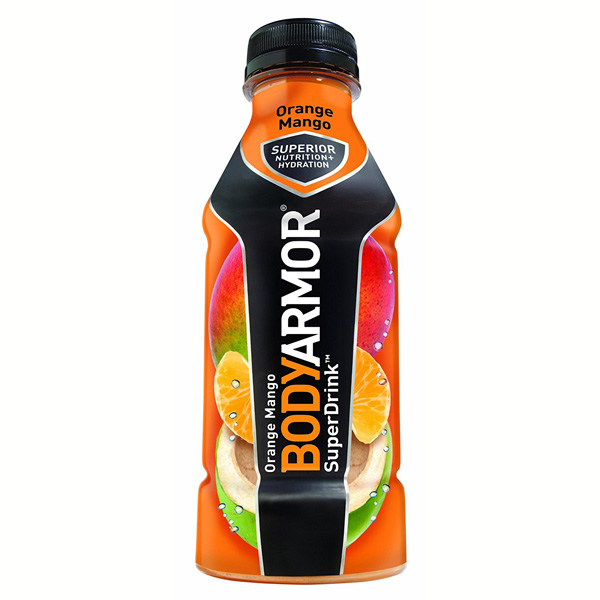 Body Armor Orange Mango Sports Drink 16 oz Plastic Bottles*12