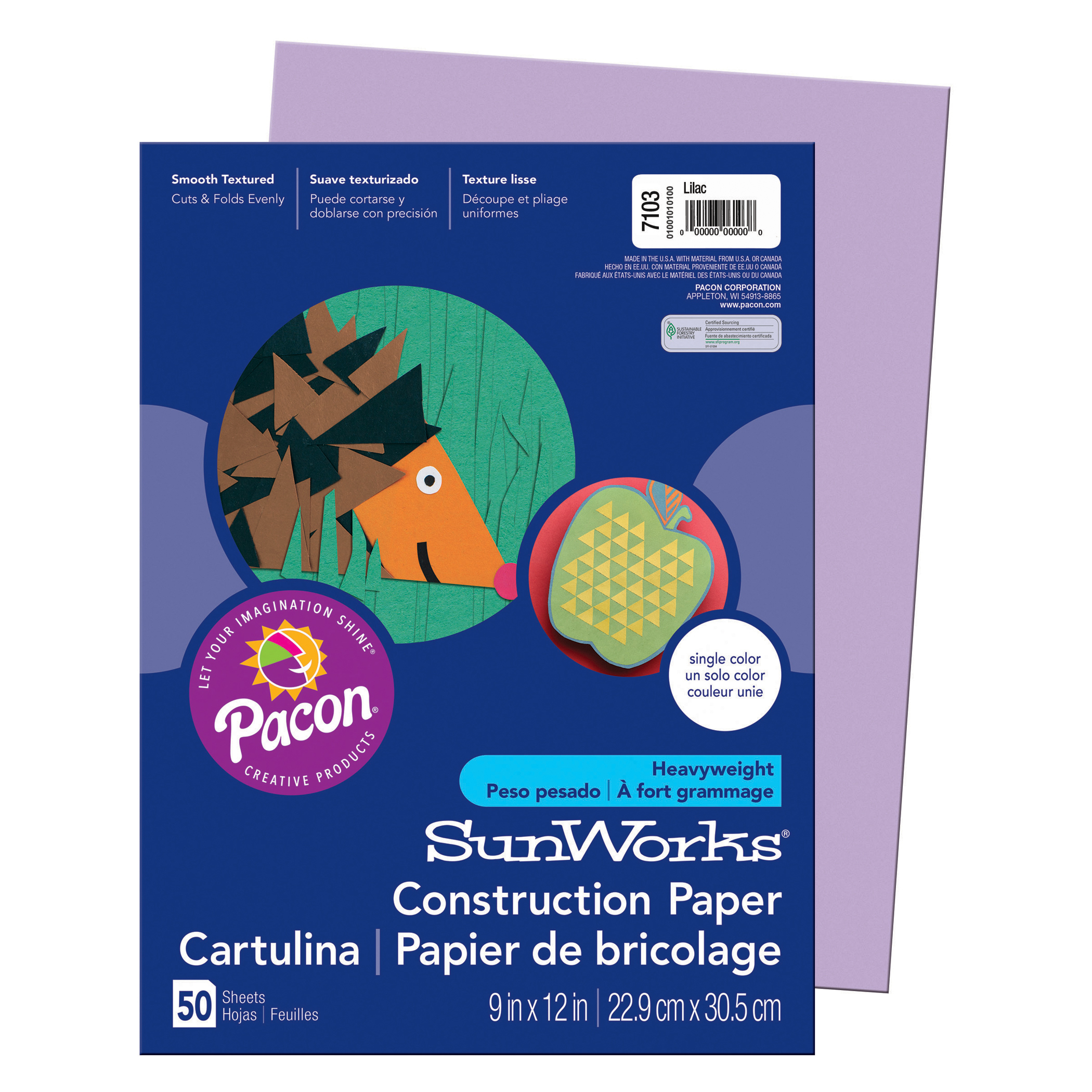"Pacon® SunWorks® Construction Paper, 9"" x 12"", Lilac - 50 Sheets per pack, 25 packs"
