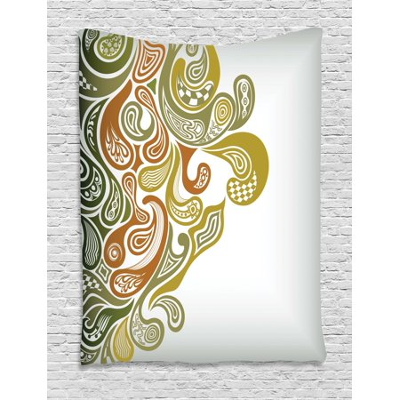 Earth Tones Tapestry, Classical Scroll Pattern with a Modern Approach Swirled Leaf Figures, Wall Hanging for Bedroom Living Room Dorm Decor, Khaki Green Cinnamon, by (Earth Scroll)