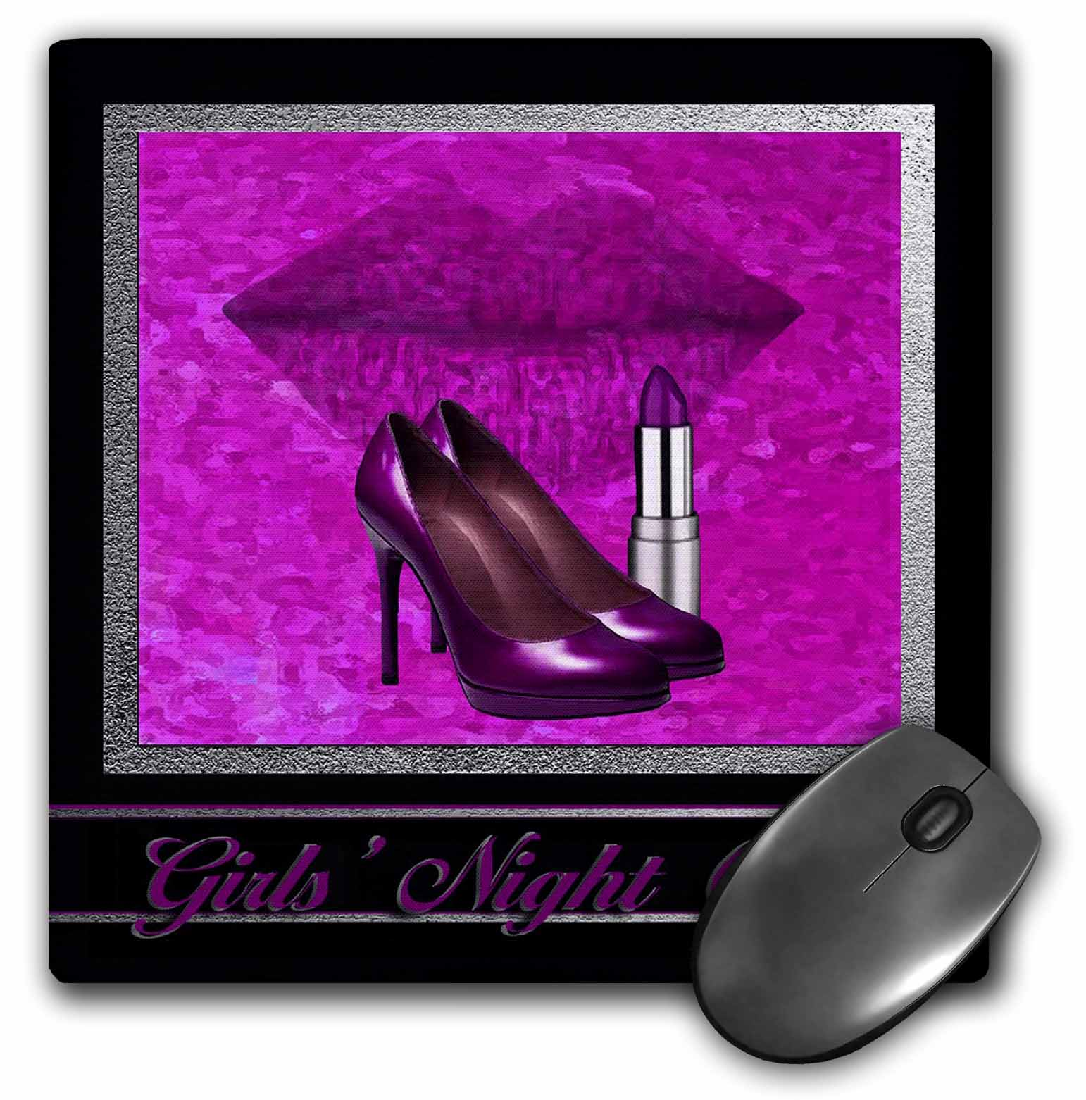 Image of 3dRose Bachelorette Party, Girls Night Out, Pink High Heels, Lips and Lipstick, Mouse Pad, 8 by 8 inches