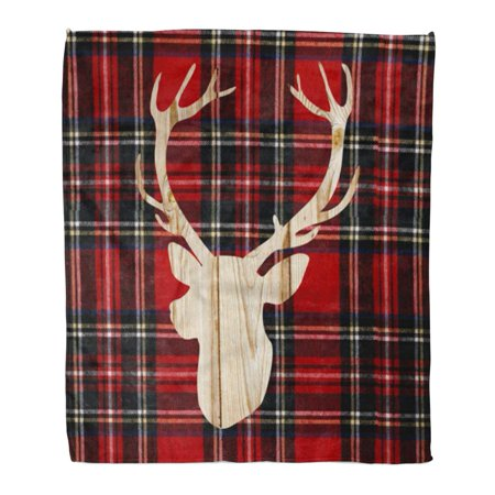 LADDKE Throw Blanket 50x60 Inches Antler Flannel Deer Head Buffalo Plaid Cabin Warm Flannel Soft Blanket for Couch Sofa Bed ()
