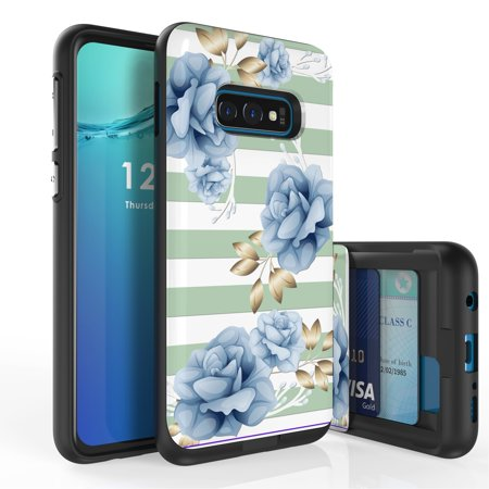 Duo Shield Case - Galaxy S10e Case, Duo Shield Slim Wallet Case + Dual Layer Card Holder For Samsung Galaxy S10e [NOT S10 OR S10+] (Released 2019) Sky Blue Roses