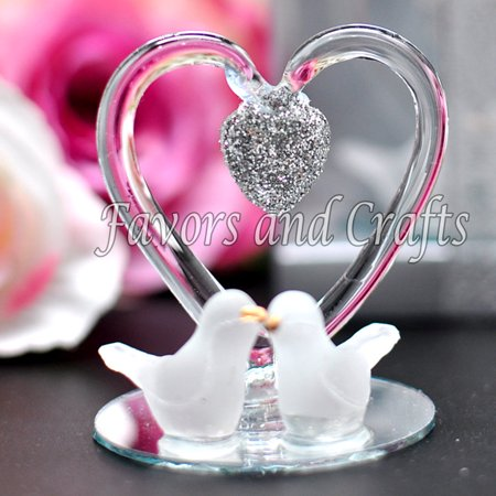 12 Glass Heart Doves Wedding Favors Boxes Anniversary Gift Recuerdos Boda