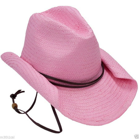 Rolled Brim Adult Womens Pink Cowboy Cowgirl Hat Costume Accessory Western