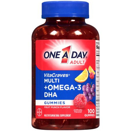 - One A Day VitaCraves Multivitamin Gummies Plus Omega-3 DHA, 100 Count