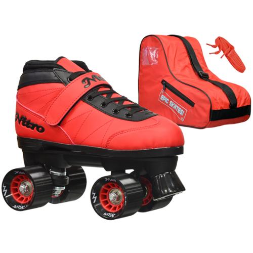 Epic Nitro Turbo Red Quad Speed Roller Skates Package Kids 3