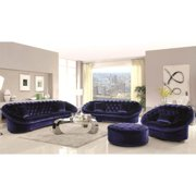 A Line Furniture Xnron Cradle Design Royal Blue Velvet Tufted Living Room Collection