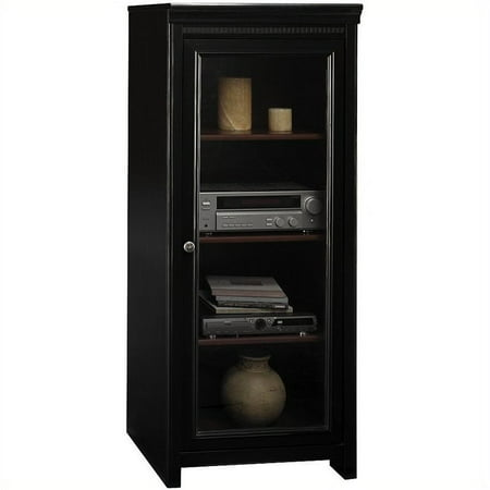 Pemberly Row Audio Cabinet with 2 Adjustable Shelves in Antique Black ()