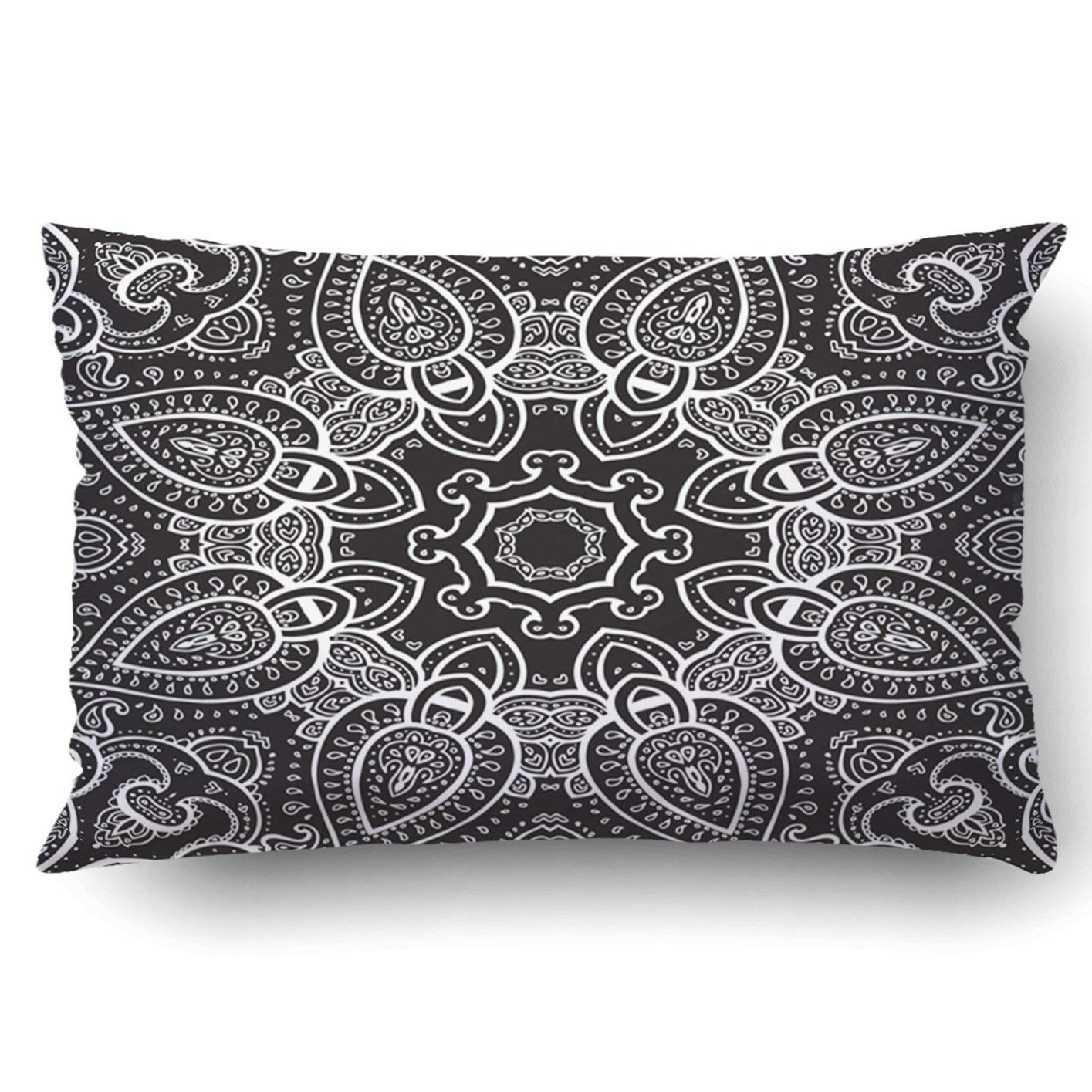 WOPOP Lace background White on black Mandala ethnic pattern Pillowcase Throw Pillow Cover Case 20x30 inches