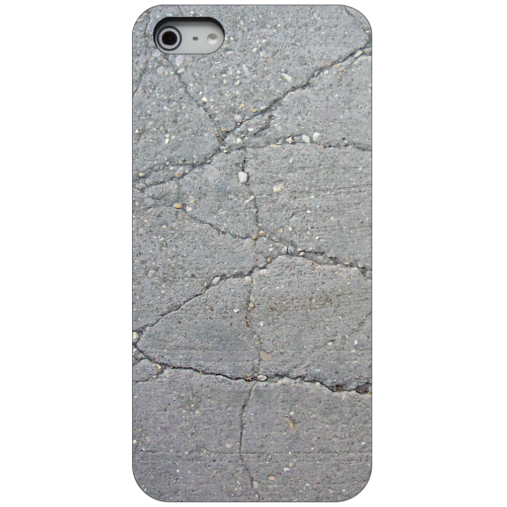 CUSTOM Black Hard Plastic Snap-On Case for Apple iPhone 5 / 5S / SE - Grey Cracked Concrete