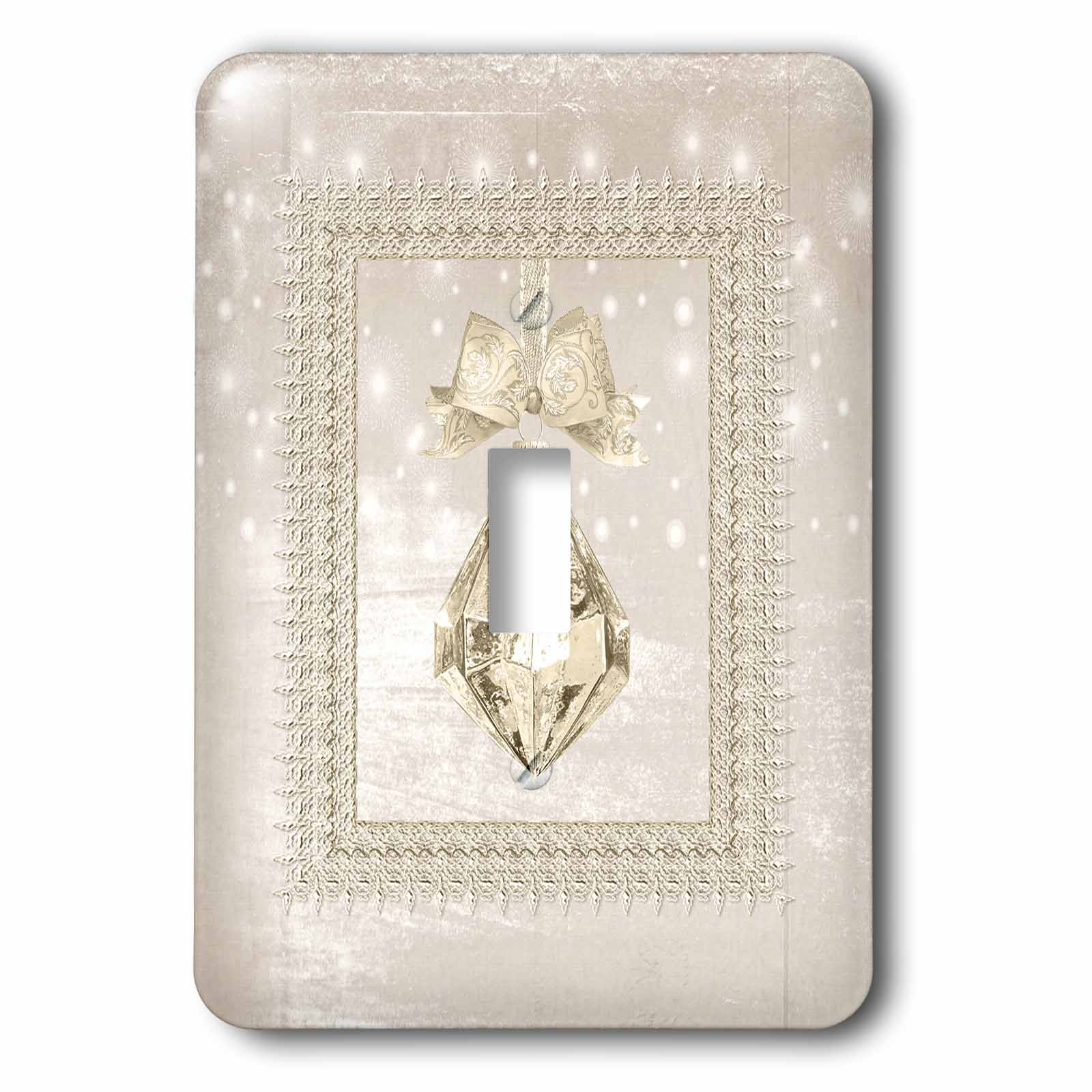 3dRose Gold Crystal Look Ornament in Gold Frame on Lights, Cream - Single Toggle Switch