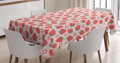 225 & Strawberry Tablecloth Retro Style Pattern with Graphic Strawberries and Flower Petals Rectangular Table Cover for Dining Room Kitchen 60 X 84 ...