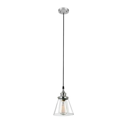 Globe Electric Parker 1-Light Plug-In or Hardwire Chrome Pendant Light with Clear Glass Shade, 60713