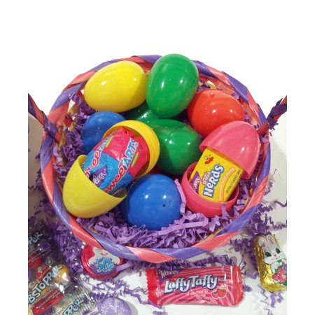 Bulk Hunt Solid Plastic Easter Eggs, Filled w Quality Brand Candy & Chocolate (Giant Plastic Easter Eggs)