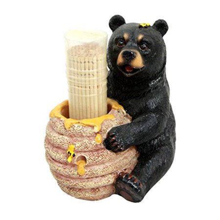 Atlantic Collectibles Honey Black Bear With Bee Hive Decorative Toothpick Holder Figurine With Toothpicks