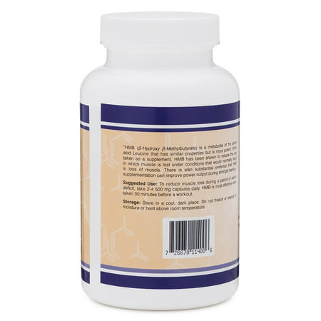 HMB Supplement, 120 Capsules, 1000mg per serving, 500mg per capsule
