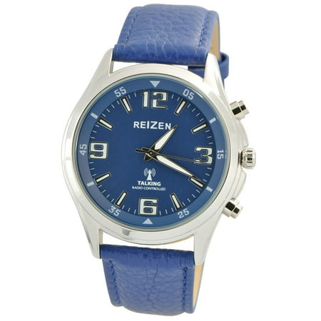 Talking Atomic Blue Dial Chrome Watch - Blue Leather -