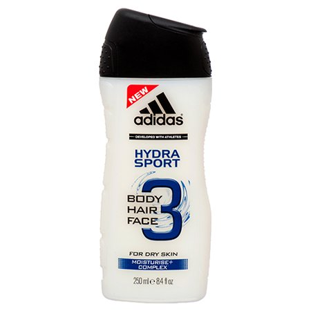 New 379661  Adidas 3 In 1 Hydra Sport 8.4 Oz / 250 Ml (12-Pack) Bath Products Cheap Wholesale Discount Bulk Health & Beauty Bath Products Rectangular (Cheap Sports)
