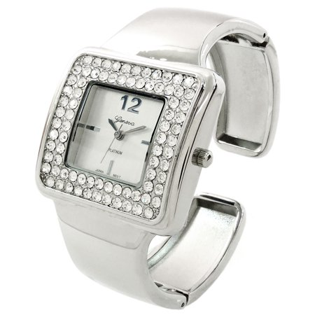 Silver Tone Crystal Bezel Iced Out Ladies Quartz Wrist Watch, Fashion Luxury Dress Bangle Cuff Watches for Women (Leather Cuff Bangle Fashion Watches)
