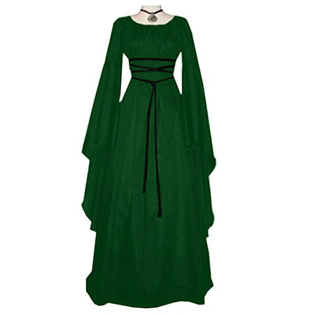 Women's Vintage Halloween Renaissance Costume Medieval Gown Fancy