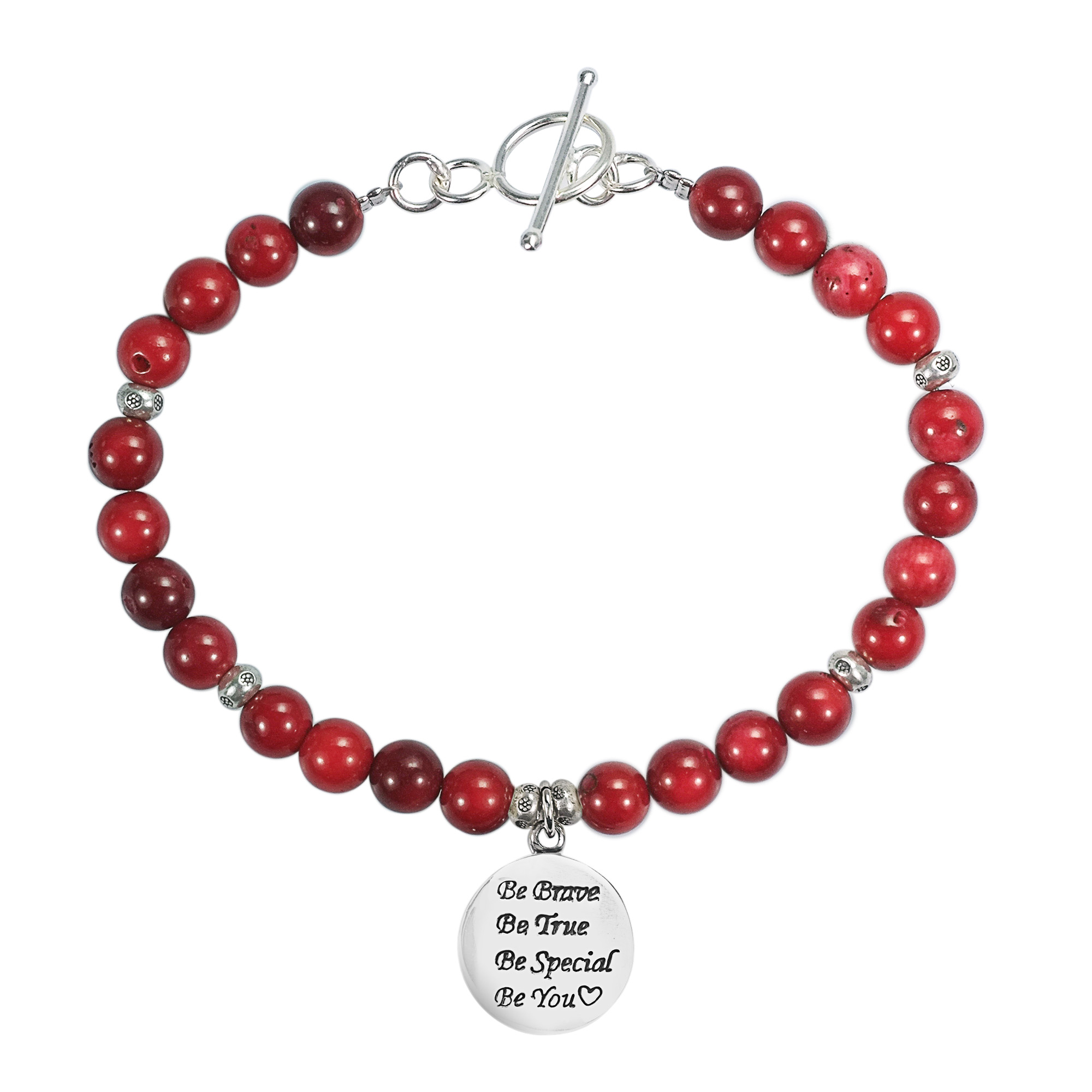 Reconstructed Red Coral 'Be You' Special Inspirational .925 Sterling Silver Pendant Link Bracelet by