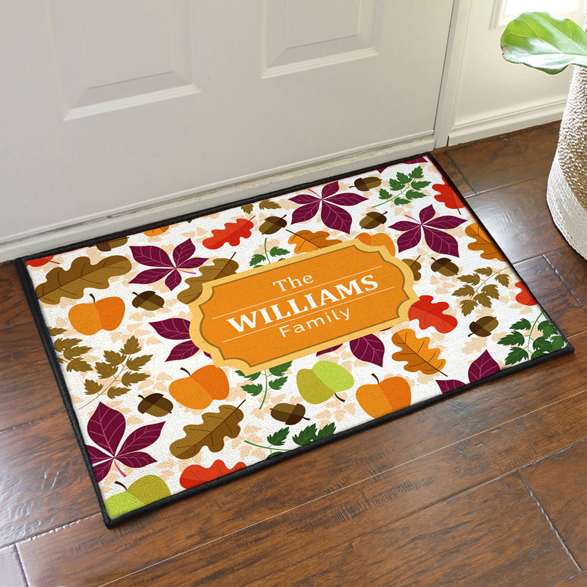 "Personalized Fall Leaves Floor Mat, 19.5"" x 15.5"""