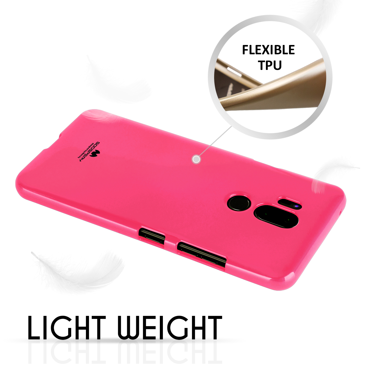 G7 Case For Lg Thinq Goospery Thin Slim Flexible Pearl Jelly All Type Special  Hotpink Glitter Perfect Fit Tpu Lightweight Shock Absorbing Bumper Cover