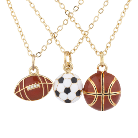 Lux Accessories Goldtone Football soccer ball Basketball Charm Necklaces 3PCS ()