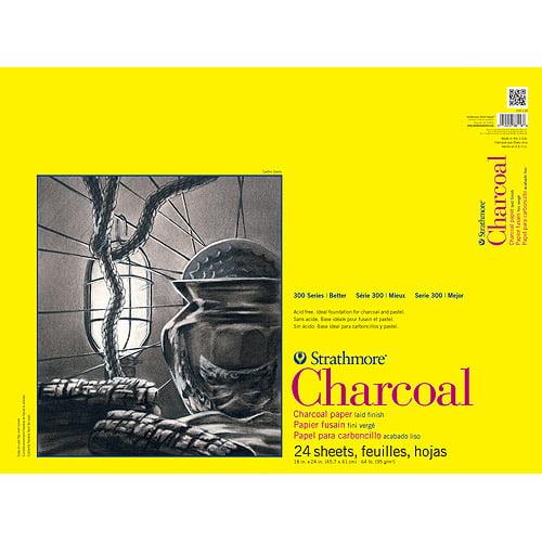 "Strathmore Charcoal Paper Pad, 18"" x 24"", 64lb, White, 24 Sheets"