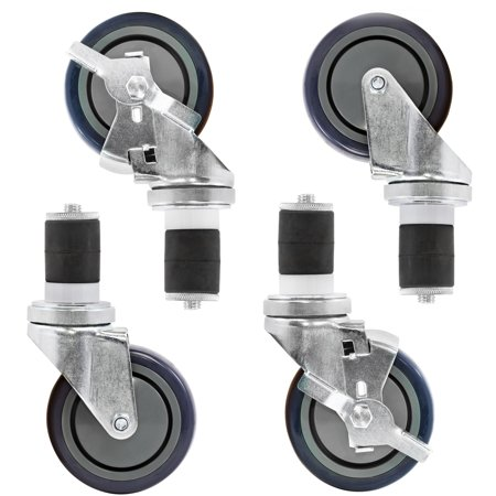 Commercial Set (GRIDMANN 4 inch Caster Wheel Set For Commercial Kitchen Prep Tables, 2 Wheels with Brakes, 2 without Brakes )