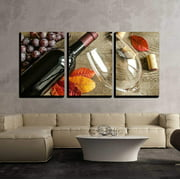 """wall26-3 Piece Canvas Wall Art - Red Wine - Modern Home Decor Stretched and Framed Ready to Hang - 16""""x24""""x3 Panels"""