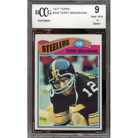 1977 Topps  245 Terry Bradshaw Pittsburgh Steelers Bgs Bccg 9