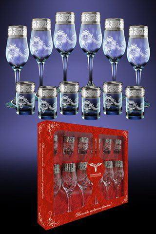 Crystal Goose GX-05-160 837, Set of 6 Long Stem Flute Glasses and 6 Vodka Shot Glasses... by