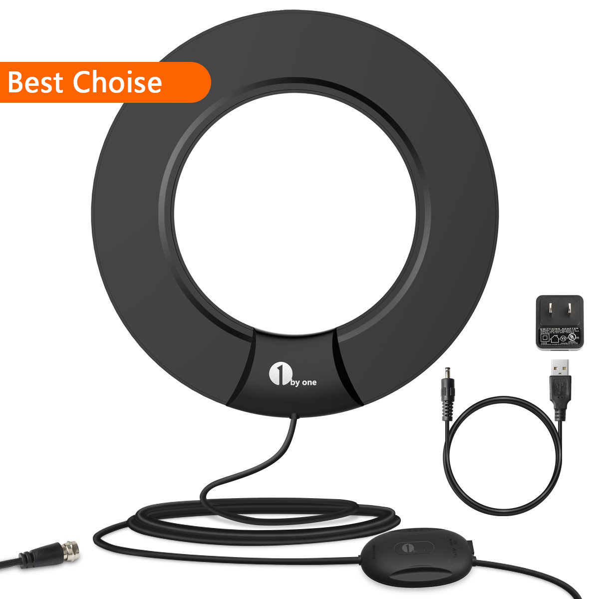 1byone TV Antenna 60 Miles with Smart Box Omni-directional and 10ft Cable and stand For High Performance - Black