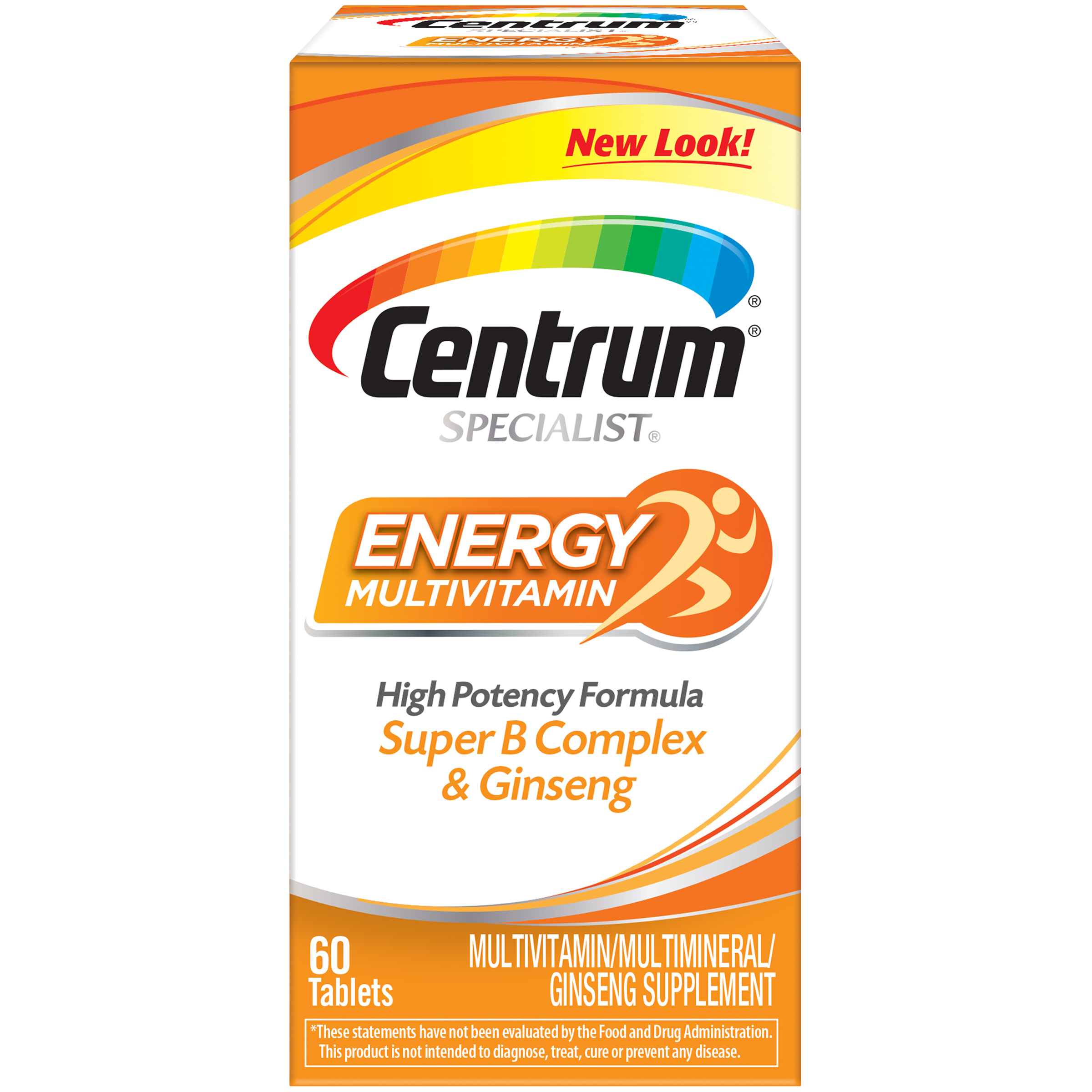Centrum Specialist Energy Adult 60 Ct Multivitamin Multimineral Supplement Tablet Vitamin D3 C B Vitamins And Ginseng Walmart Com Walmart Com