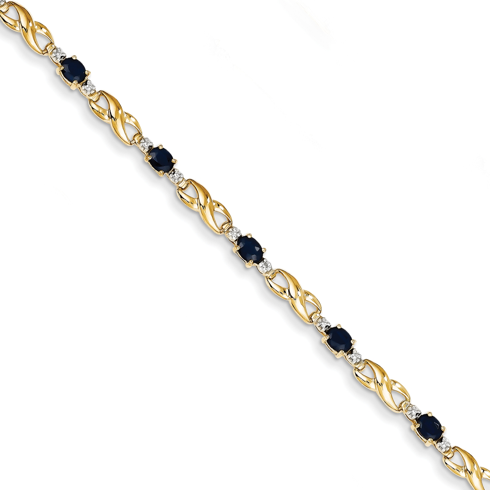 """14k Yellow Gold Polished Diamond and Sapphire Oval Bracelet 7"""" by Fusion Collections"""