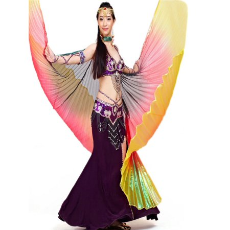 BellyLady Belly Dance Costume Isis Wings, Professional Dance Wings with Sticks-Black - Belly Dance Costume