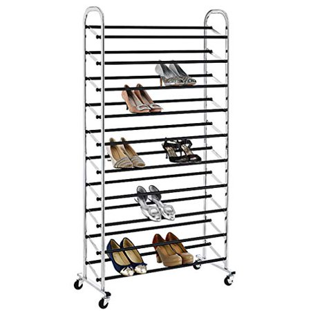 BestOffice 50 Pair Free Standing 10 Tier Shoe Tower Rack Chrome Metal Shoe Rack S59 Chrome Expandable Shoe Rack