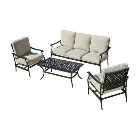 Every Season Iron 4 Piece Outdoor Conversation Set with Sofa ()