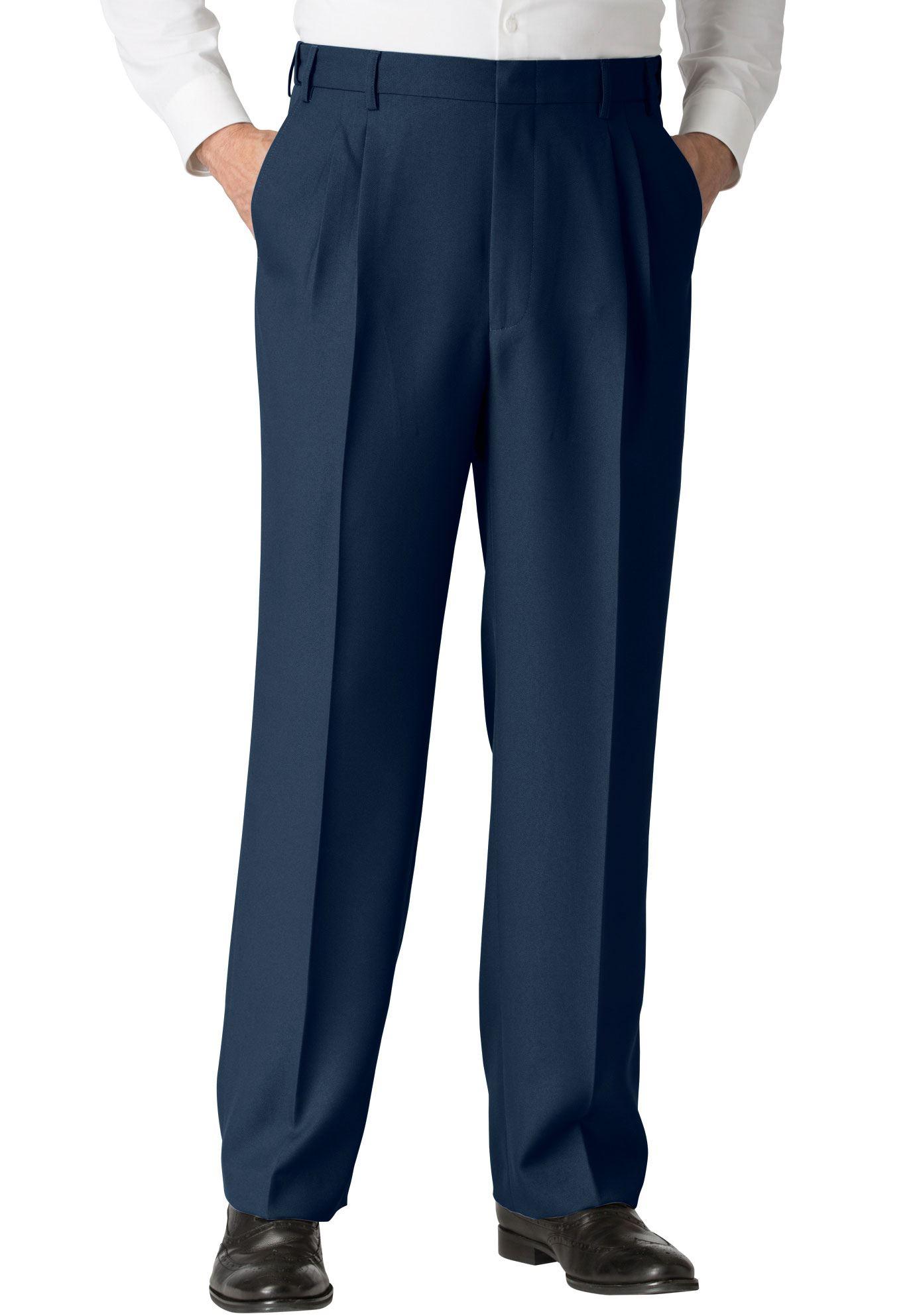 Men's Big & Tall Easy-care Classic Fit Expandable Waist Double-pleat Front Dress Pants