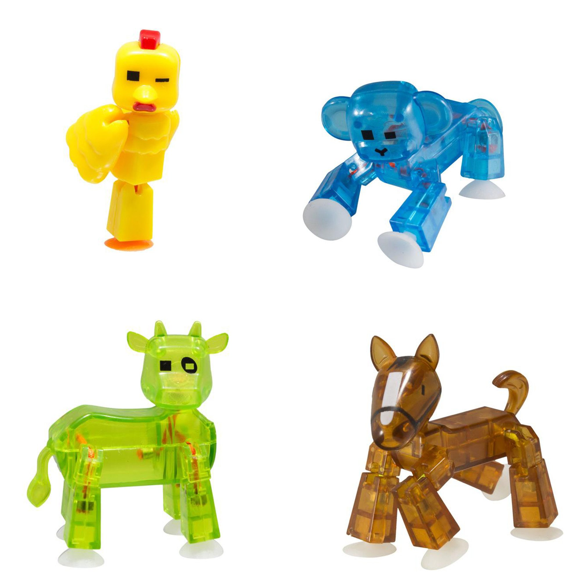 4 x Stikbot Farm : Chicken , Horse, Cow , Monkey Color may Vary by