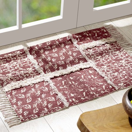 Lipstick Red Farmhouse Flooring Isabella Cotton Latex Backing Reverse Seams Enzyme Washed Floral / Flower Rectangle Accent