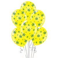 Marijuana Balloons 11in Premium Gold with All-Over print green Marijuana Leaves Pkg/12
