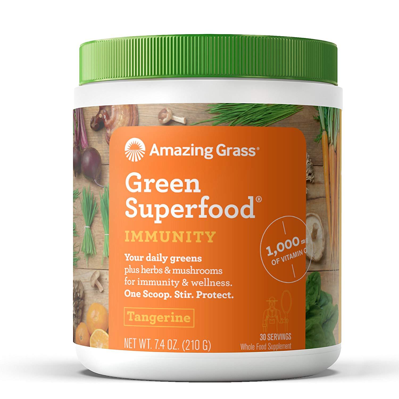 Amazing Grass Immunity Green Superfood Powder, Tangerine, 30 Servings