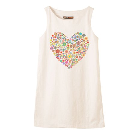 Multicolored Heart Printed Vintage 100% Cotton Linen Mini Shift Dress WDS_01 20