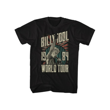 Billy Idol 1984 Punk Rock Singer on the Mic World Tour Adult T-Shirt