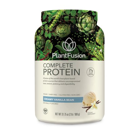 PlantFusion Complete Plant Based Protein Powder, Vanilla Bean, 2.0 Lb, 30 - Protein Powder Vanilla Bean