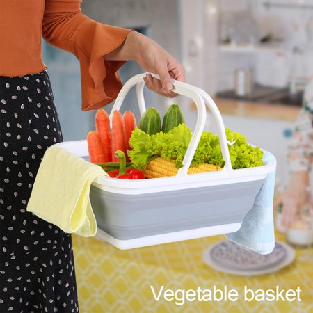 Portable Folding Plastic Basket Vegetables Fruits Storage Container Market Shopping Bucket,Plastic Basket, Portable Plastic Basket ()